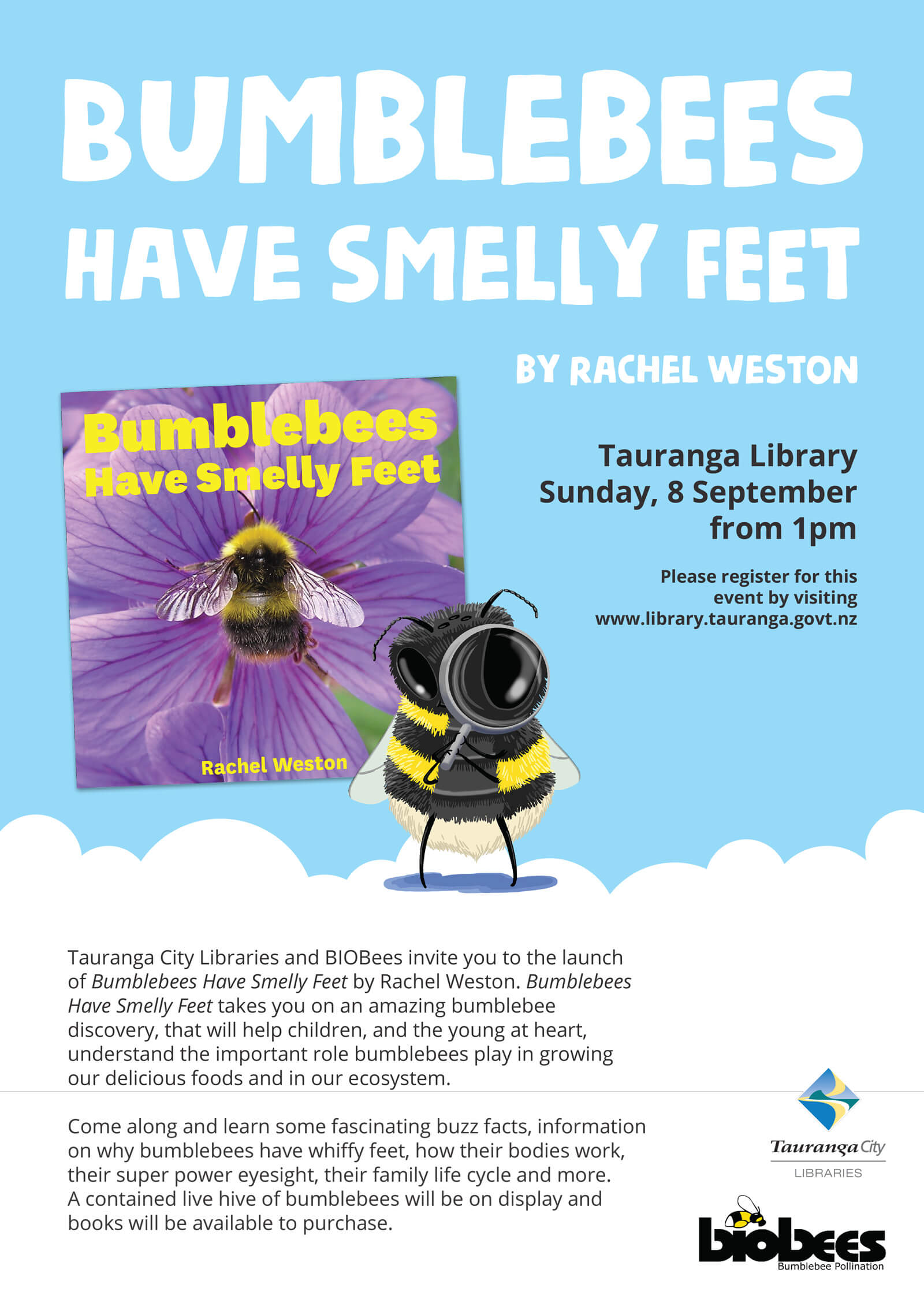 bumblebees have smelly feet book launch poster