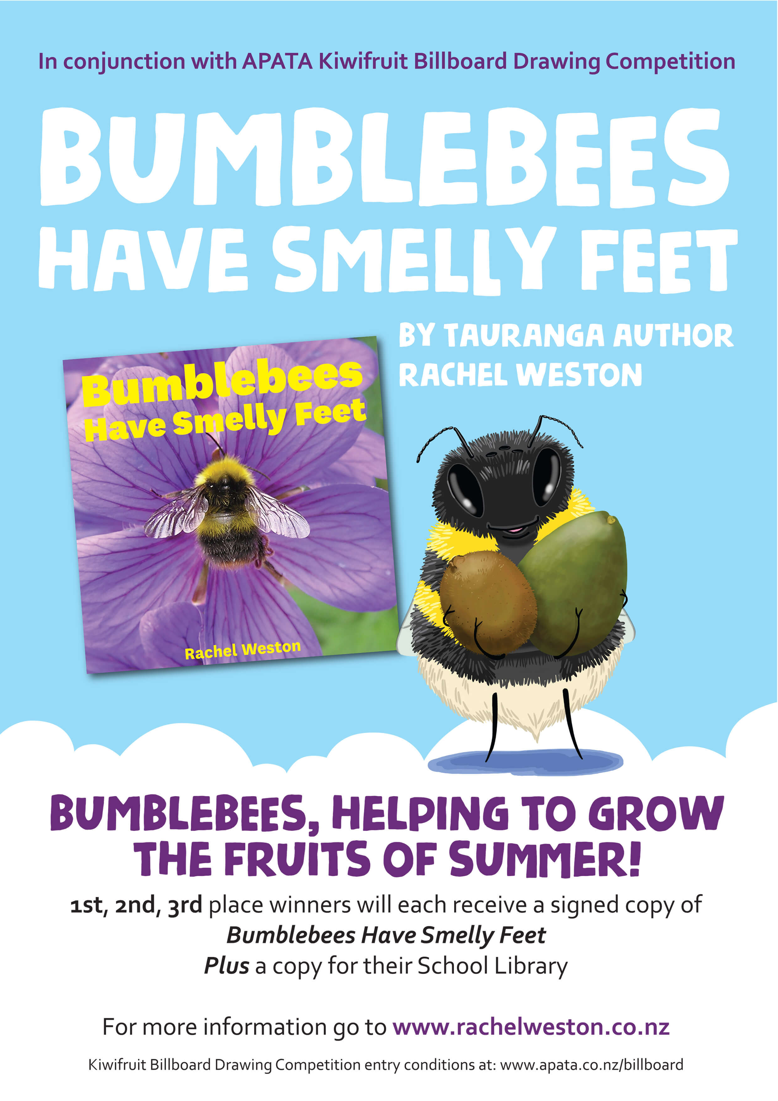 bumblebees have smelly feet apata kiwifruit poster